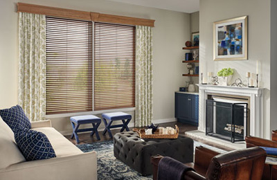 room of wood blinds